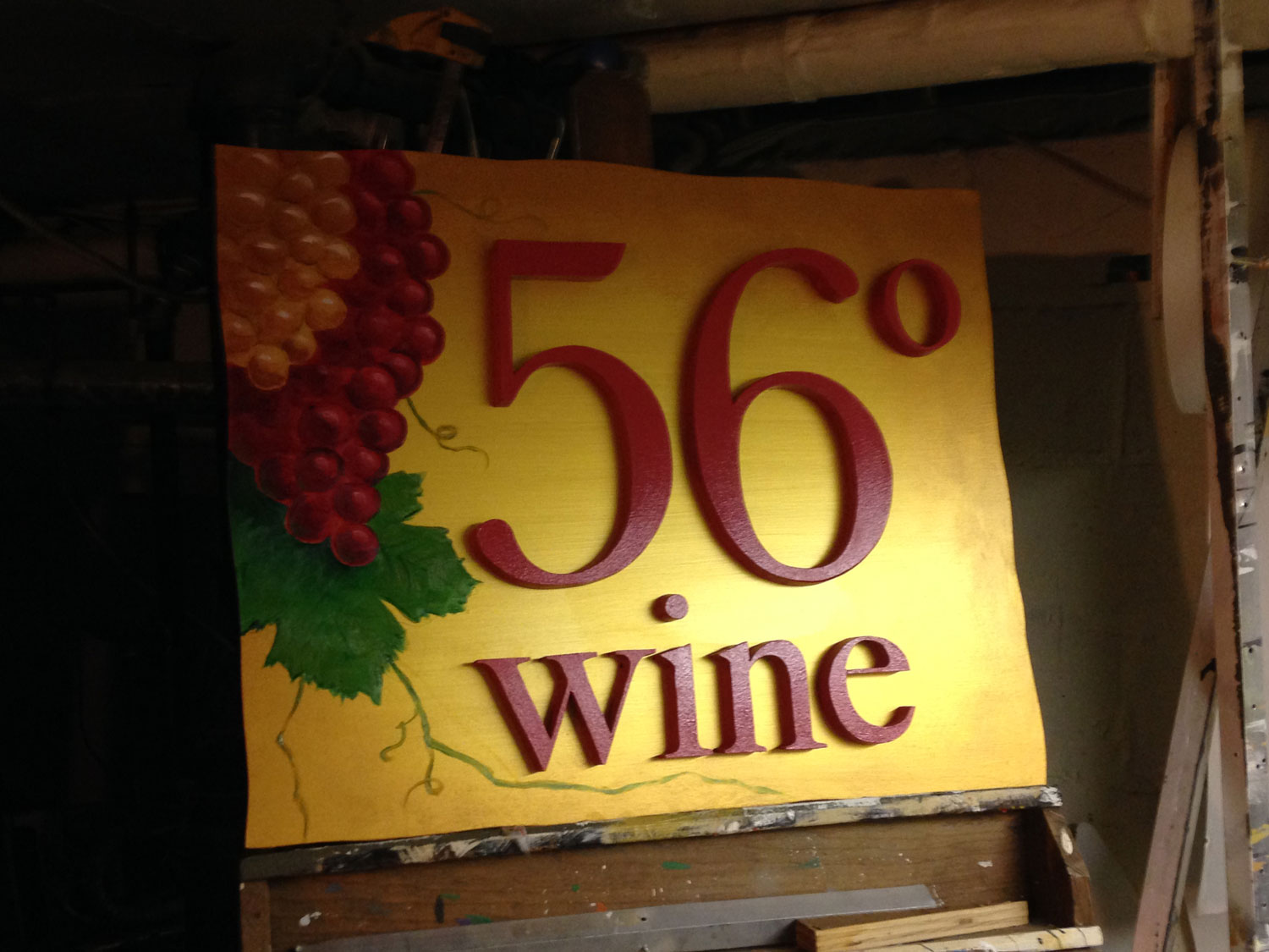 56 Degree Wine Painted Sign